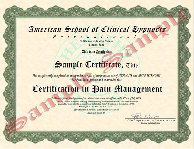 Painimage Pain Management Certification Using Clinical Hypnosis